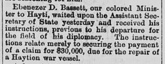 News clipping of Ambassador Bassett's appointment