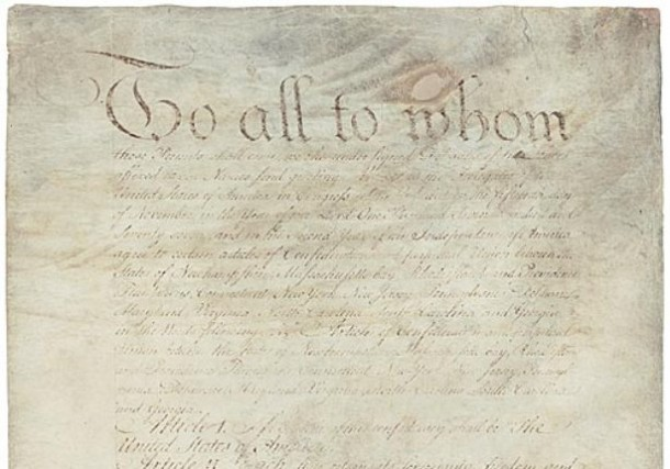 Detail of the Articles of Confederation, ratified March 1, 1781 - National Archives