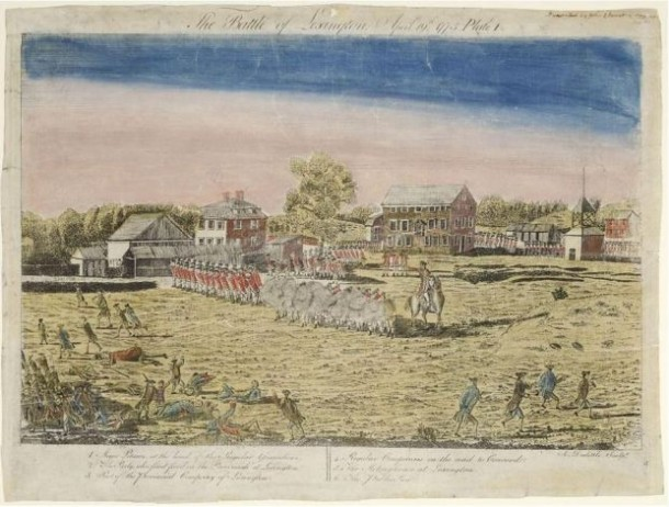 Ralph Earl, The Battle of Lexington, April 19th, 1775 etched by Amos Doolittle