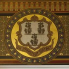 Detail of the Connecticut State logo from the capitol building, Hartford