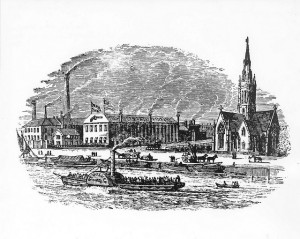Samuel Colt's London factory on the banks of the Thames River, London