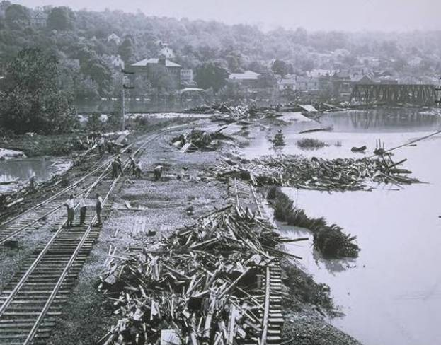 Flood damage to railroad tracks, Derby, 1955