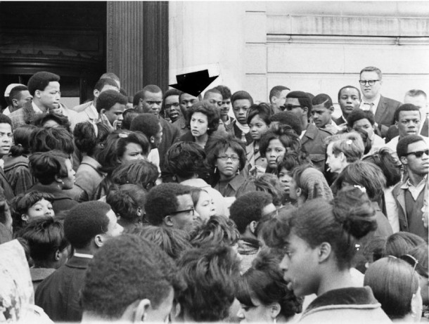 """On the day Dr. Martin Luther King Jr. was assassinated, Hartford Mayor Antonia """"Ann"""" Uccello went to where citizens were gathering in the streets of North Hartford and spent the night with them, talking and consoling. One of the first women in America to be elected mayor of a major city, """"Mayor Ann"""" famously asked her city's grieving residents """"What would Dr. King want you to do?."""" Photographer Unknown - The Hartford Times Collection, Hartford History Center, Hartford Public Library"""