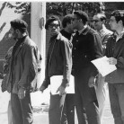 On the day of the May 1, 1969, protest, pickets outside the US Court House in Hartford. Several men wear the trademark black beret of Black Panther Party members. Photograph by David Ploss - The Hartford Times Collection, Hartford History Center, Hartford Public Library