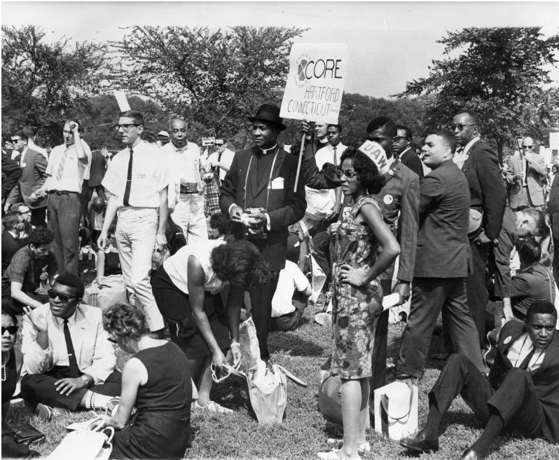 The Hartford coalition attending the March on Washington for Freedom and Jobs in August 1963 included religious leaders, business leaders, men and women, blacks and whites. Of the roughly quarter million people who participated in the march, one quarter were white. Photographer Unknown - Hartford Times Collection, Hartford History Center, Hartford Public Library