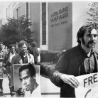 Protestors on May 1, 1969, in Hartford carried signs bearing a photograph of Huey P. Newton, a founder of the Black Panther party, and flags with the party emblem, a charging black panther. The Black Panther party was an often-militant group determined to bring justice to African Americans and was philosophically opposed to Dr. King's program of nonviolent resistance. Photograph by Ellery G. Kington - The Hartford Times Collection, Hartford History Center, Hartford Public Library