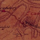 Detail of the French army's map of its route across Connecticut in Plainfield