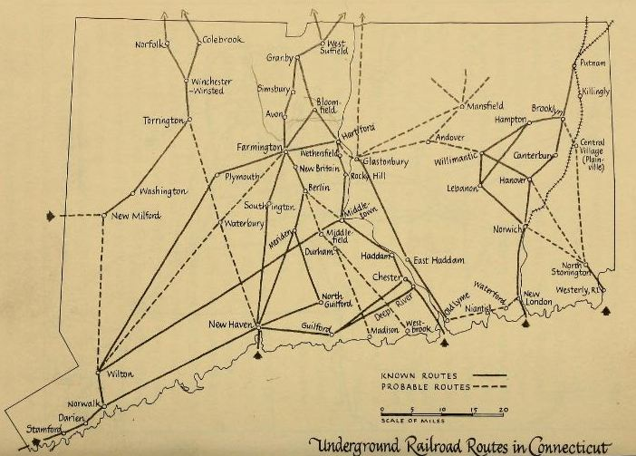 Map from the Underground Railroad in Connecticut by Horatio Strother, 1962