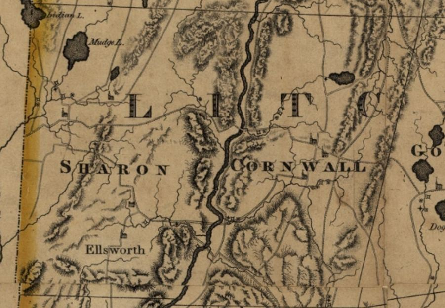 Detail of Sharon from Map of Connecticut, from actual survey by Moses Warren