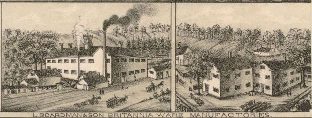 L. Boardman & Son Britannia Ware Manufactories detail from a View of East Haddam. Connecticut. And Goodspeed's Landing