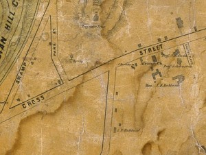 Detail of the Cross Street African Church from Map of the city of Middletown, Connecticut from original surveys by R. Whiteford