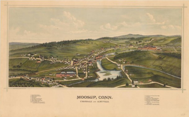Bird's-eye map of Moosup, Conn. Uniondale and Almyville,