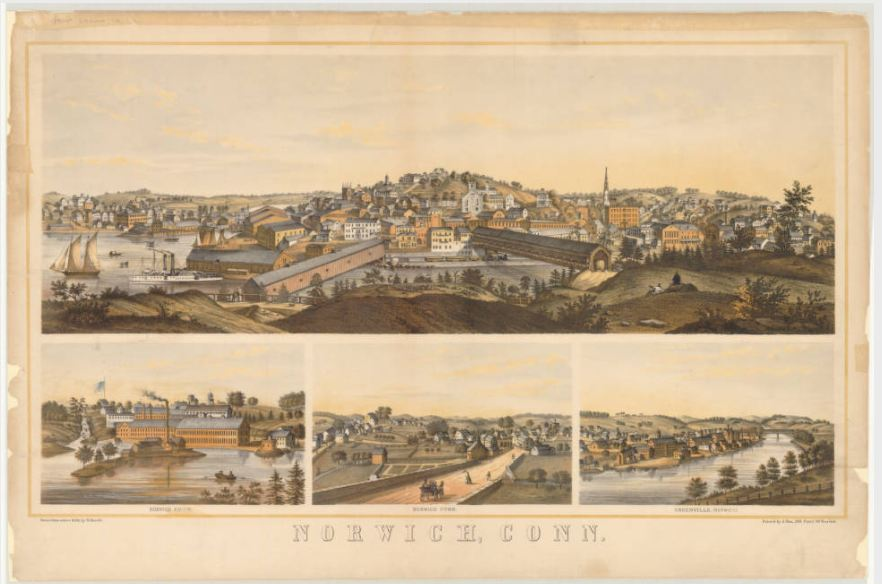 Bird's-eye map of Norwich, Conn.