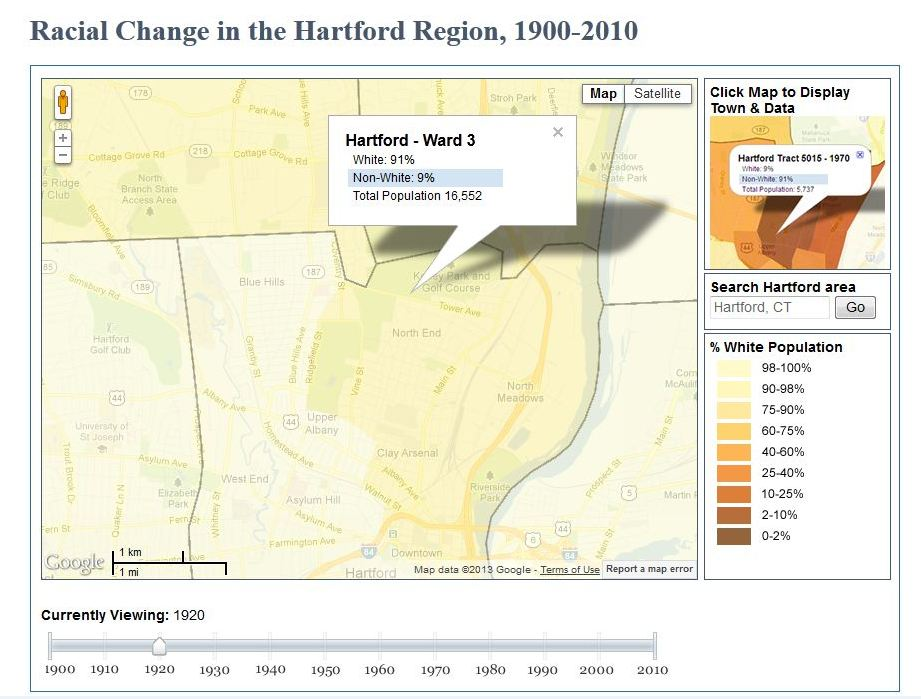 Racial Change Map 1920 displaying the African American Population concentrated in the Northeast part of Hartford