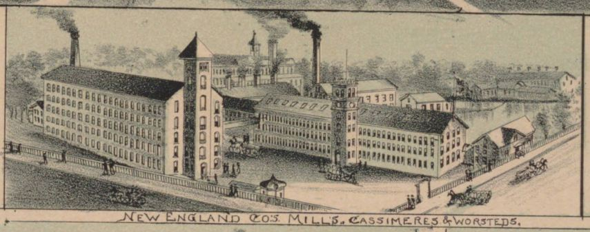 Detail of New England Co.'s Mills from Rockville, Connecticut, 1895