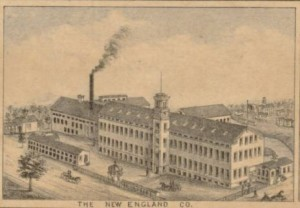 Detail of The New England Co. from View of Rockville, Conn, 1877