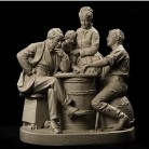 John Rogers, Checkers up at the Farm,1875, painted plaster