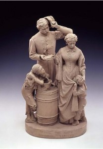 John Rogers, Taking the Oath and Drawing Rations, 1865, painted plaster