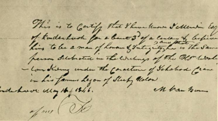 Letter from Martin van Buren verifying that Jesse Merwin was the inspiration for Ichabod Crane