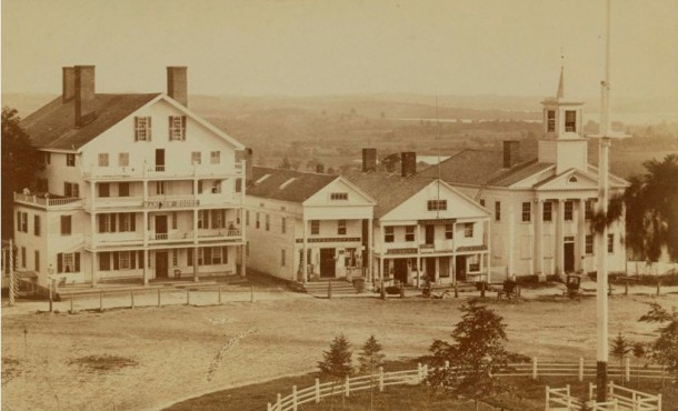 The southeast block of West Street, Litchfield as it looked in the Civil War era, 1867
