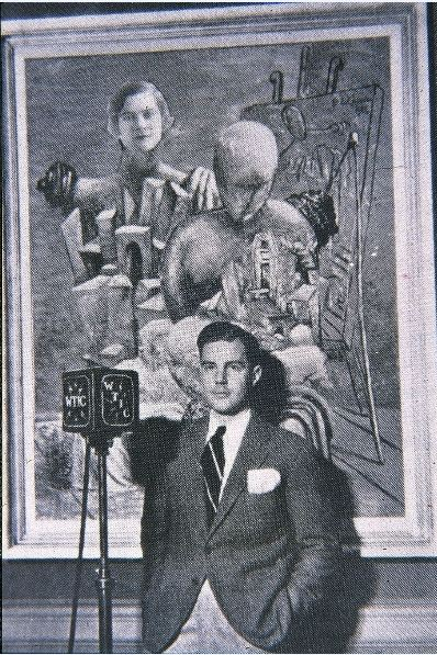 Chick Austin at the opening of the surrealist exhibition, during a live broadcast on WTIC