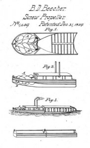 B.D. Beecher, Screw Propeller, patent number 1,459, December 31, 1839