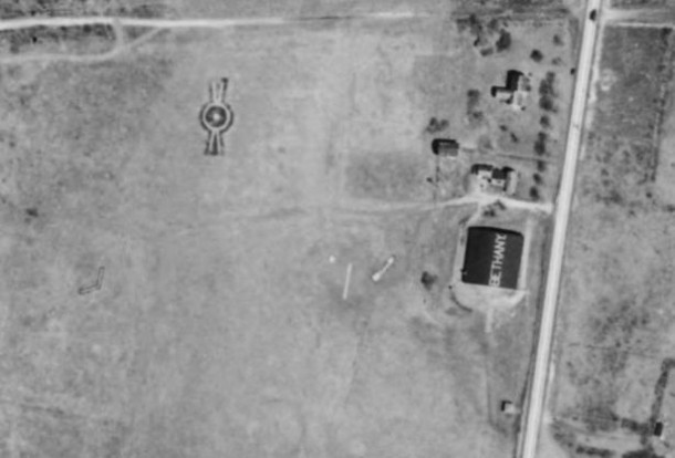Detail of the Bethany Airport Hanger from the Aerial survey of Connecticut 1934