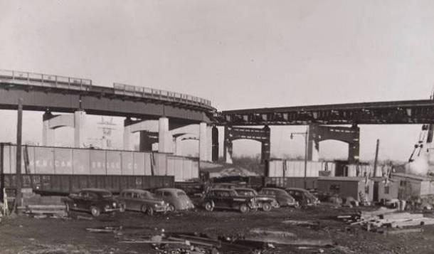 Charter Oak Bridge construction, ca. 1941