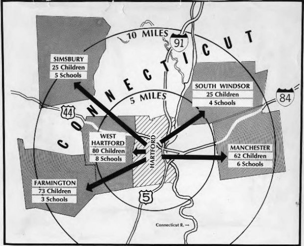 Map of school busing and integration in the greater Hartford area, 1966
