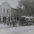 Hartford's first electric trolley, ca. 1899