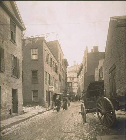 Western end of Gold Street before widening, Hartford