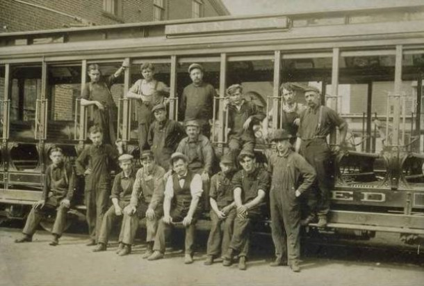 Hartford Street Railway Company Electricians, ca. 1907. Electrifying the railroad created new jobs