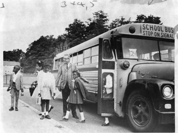 PROJECT CONCERN youngsters, 20 of them from Hartford, arrive at Spaulding School, Suffield