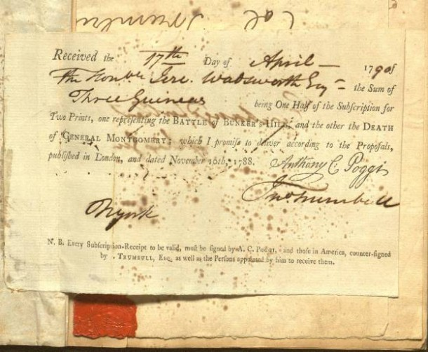 A receipt for two prints of John Trumbull paintings
