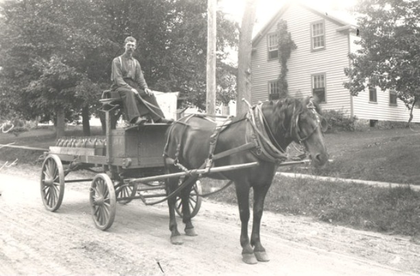 Powder wagon and horse