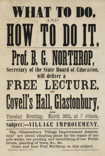 Broadside announcing a lecture by Professor B. G. Northrop on the subject of village improvement