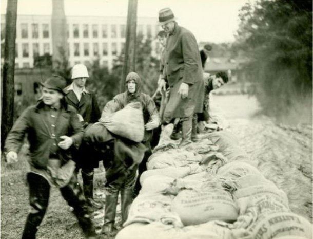 Sandbags in Rockville. September 22, 1938