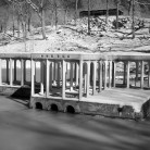 Infrared view of Philip Johnson's Glass House and Pavillion, New Canaan