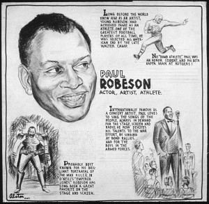 Editorial drawing of Paul Robeson by artist, Charles H. Alston, 1943