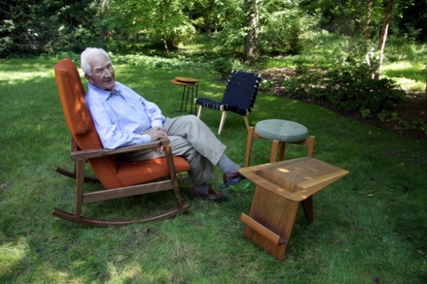 Jens Risom and a selection of his furniture