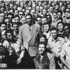 Paul Robeson leading Moore Shipyard (Oakland, CA) workers in singing the Star Spangled Banner