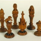 Chess Set made from pieces of the Charter Oak tree, after 1856