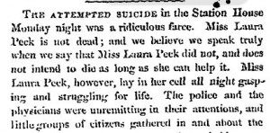 Newspaper account of the attempted suicide by Laura Peck