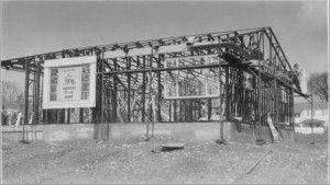 The windows were installed in the wall sections at the Lustron Factory