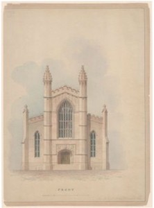 Unknown building. Drawing attributed to Ithiel Town and Alexander Jackson Davis