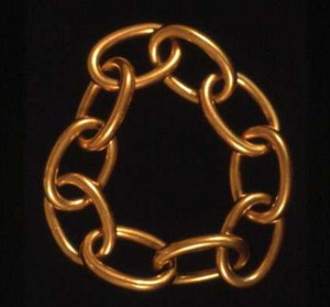 Gold chain-link bracelet symbolizing the shackles of slavery