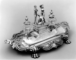 Silver and cut crystal inkstand presented to Stowe