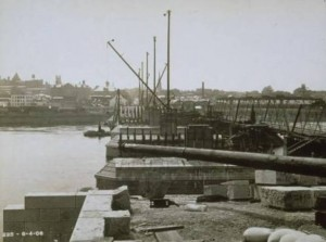 Bulkeley Bridge construction with abutments and temporary iron bridge