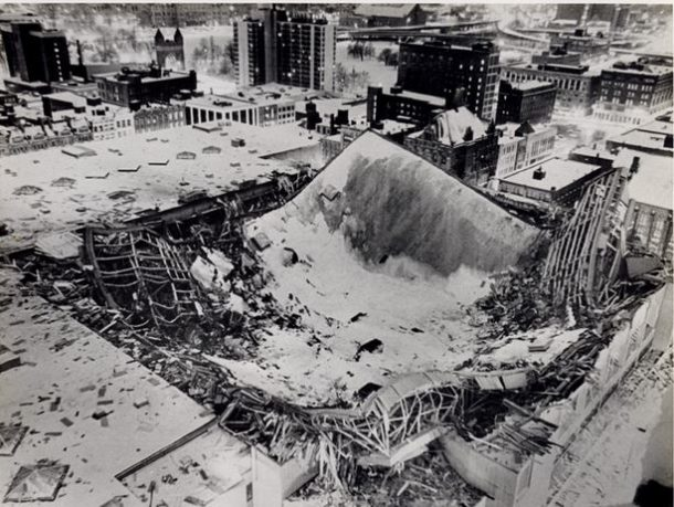 View of the Hartford Civic Center roof, which collapsed on January 18, 1978