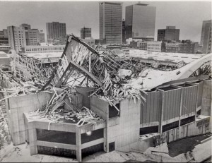 Aerial view of the Hartford Civic Center roof, January 18, 1978